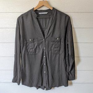 Zara Black Lyocell Chambray Shirt M